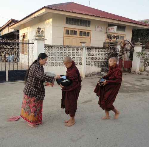 Monks getting free food